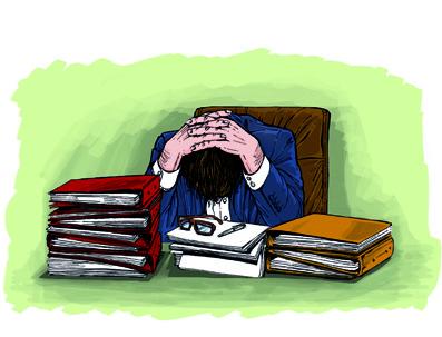 Stressad kontorsarbetare
